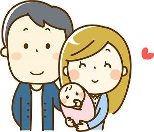 赤ちゃんが産まれた家族の画像
